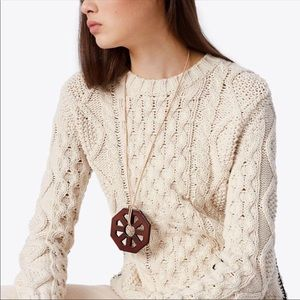 Tory Burch Geo Wood Pendant Necklace with tag
